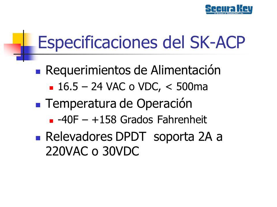 Especificaciones del SK-ACP