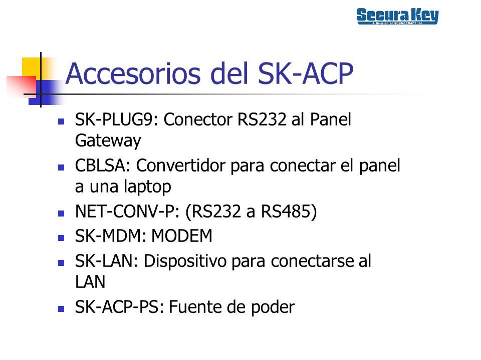Accesorios del SK-ACP SK-PLUG9: Conector RS232 al Panel Gateway