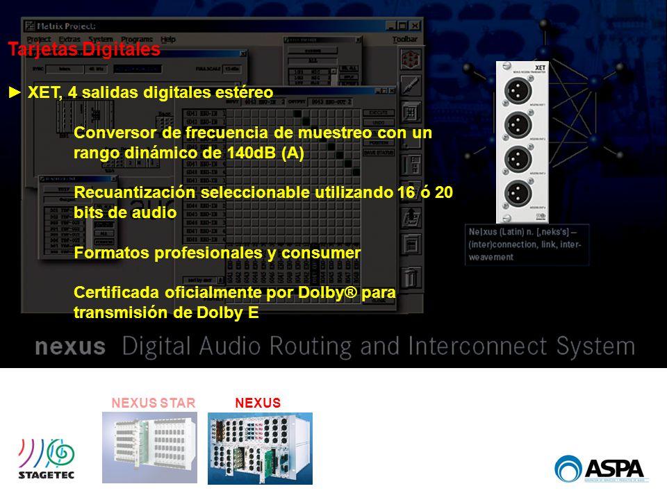 Tarjetas Digitales ► XET, 4 salidas digitales estéreo