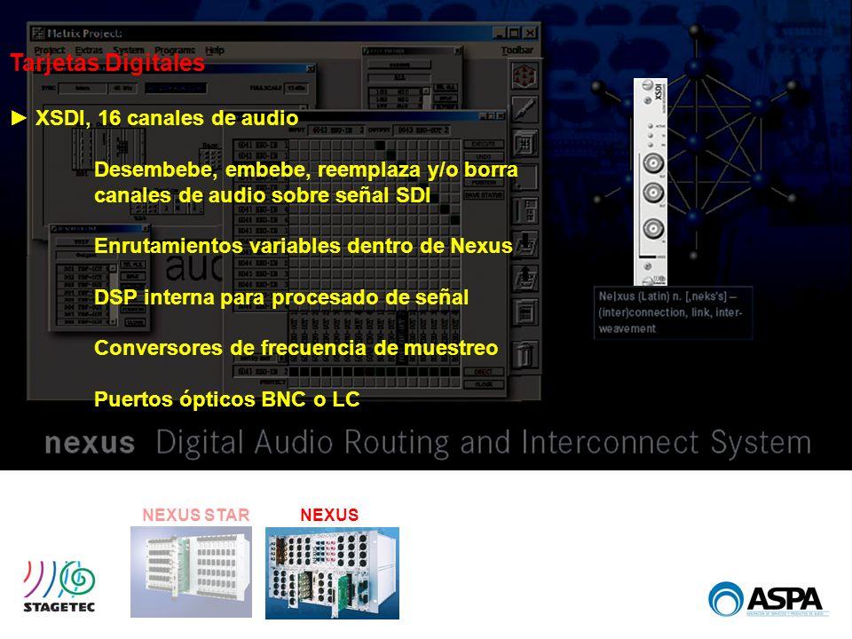 Tarjetas Digitales ► XSDI, 16 canales de audio