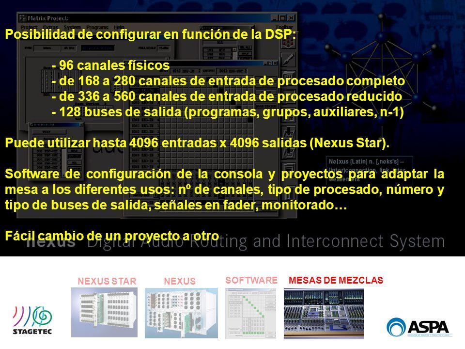 Posibilidad de configurar en función de la DSP: - 96 canales físicos