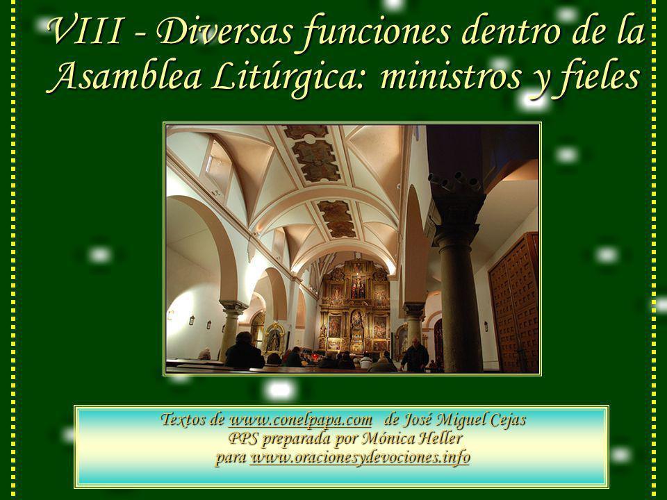 VIII - Diversas funciones dentro de la Asamblea Litúrgica: ministros y fieles