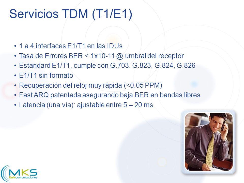 Servicios TDM (T1/E1) 1 a 4 interfaces E1/T1 en las IDUs