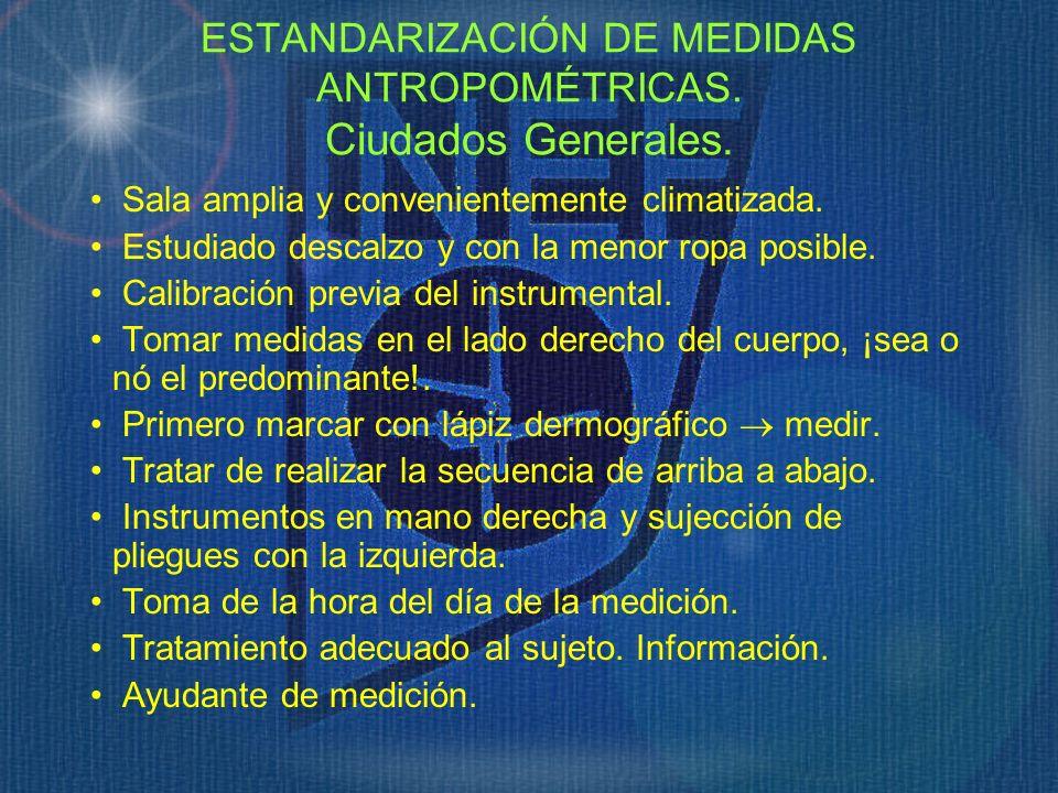 ESTANDARIZACIÓN DE MEDIDAS ANTROPOMÉTRICAS. Ciudados Generales.