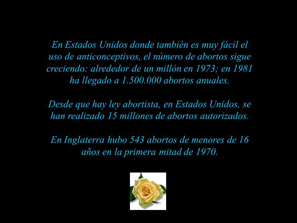 En Estados Unidos donde también es muy fácil el uso de anticonceptivos, el número de abortos sigue creciendo: alrededor de un millón en 1973; en 1981 ha llegado a 1.500.000 abortos anuales.
