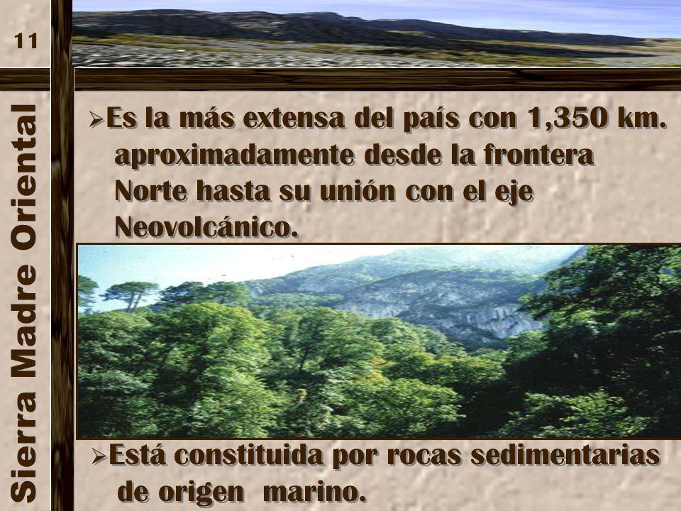 Sierra Madre Oriental aproximadamente desde la frontera