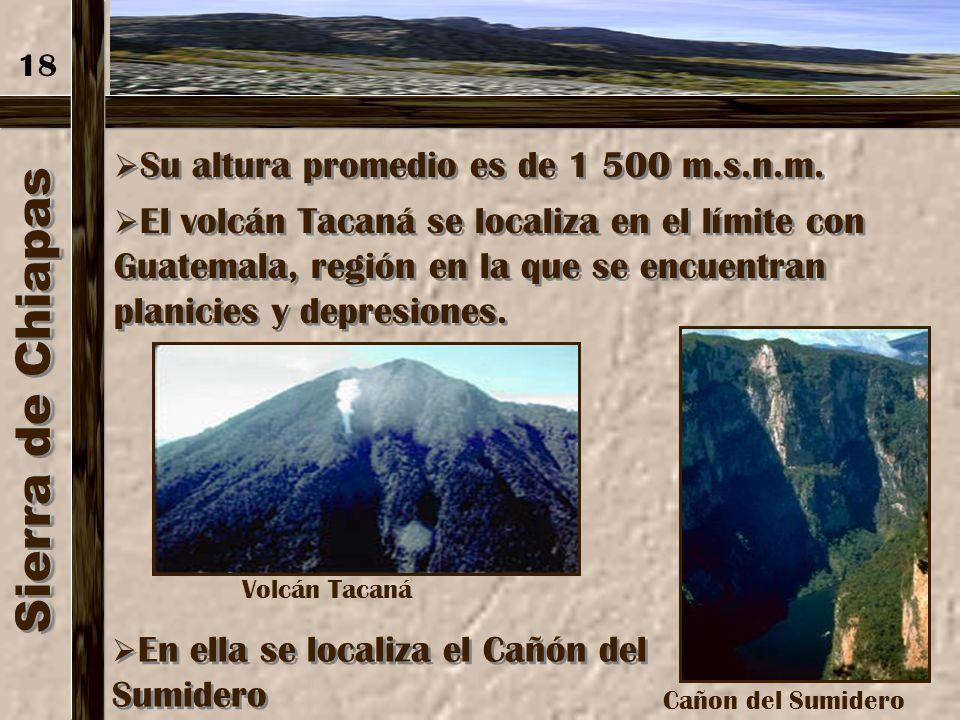 Sierra de Chiapas 18 Su altura promedio es de 1 500 m.s.n.m.