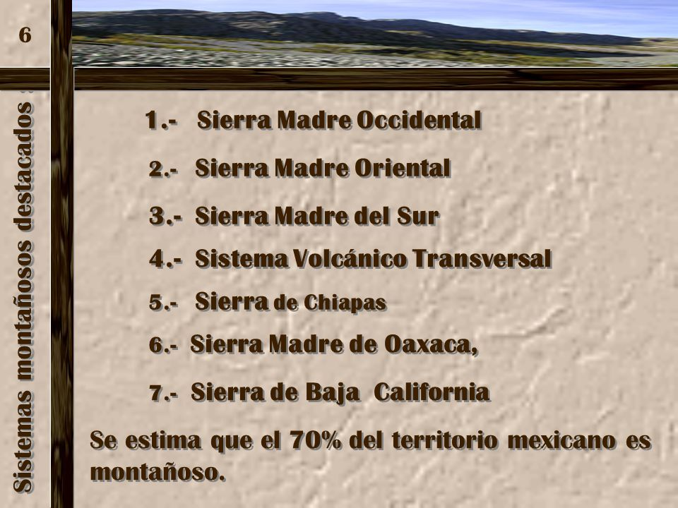 Sistemas montañosos destacados :
