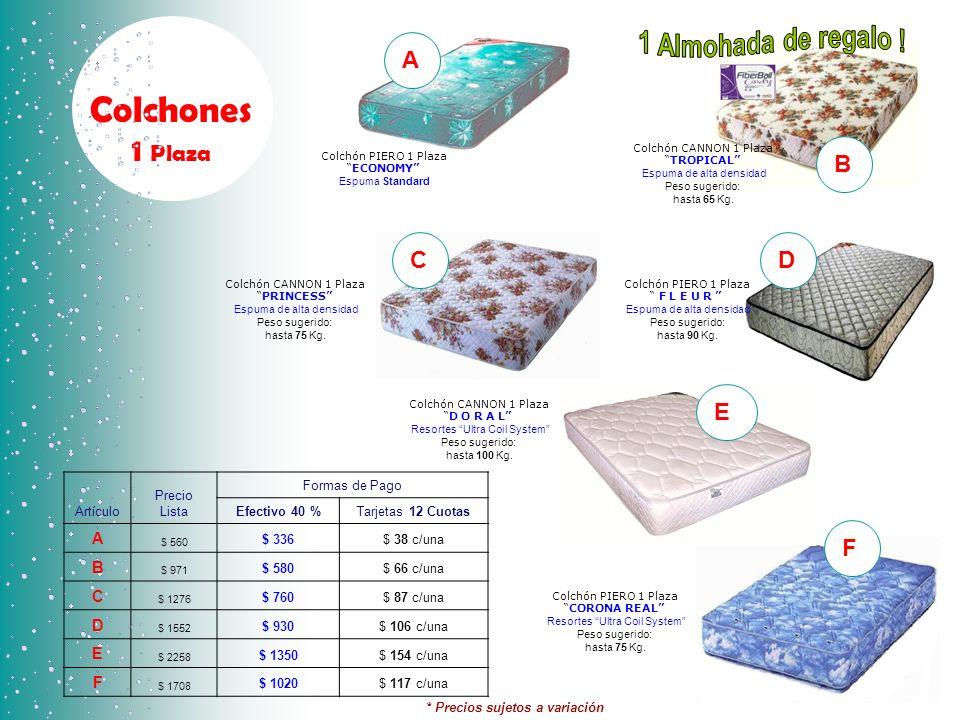 1 Almohada de regalo ! Colchones 1 Plaza A B C D E F A B C D E F
