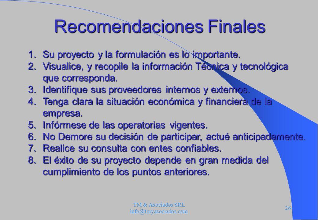 Recomendaciones Finales