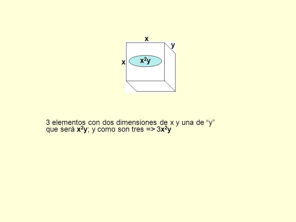 x y x2y 3 elementos con dos dimensiones de x y una de y que será x2y; y como son tres => 3x2y