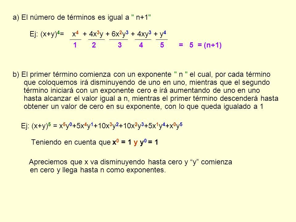 a) El número de términos es igual a n+1