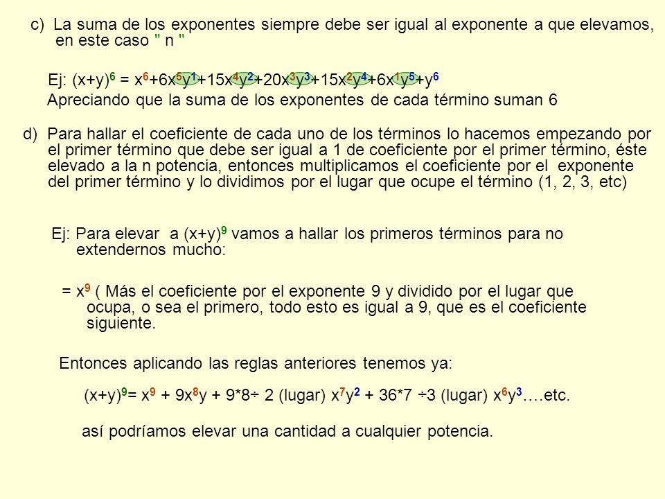 c) La suma de los exponentes siempre debe ser igual al exponente a que elevamos, en este caso n