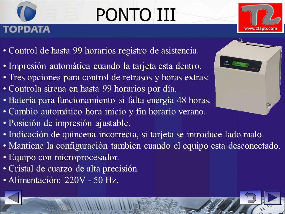 PONTO III Control de hasta 99 horarios registro de asistencia.