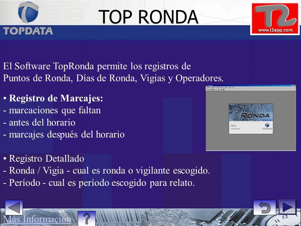 TOP RONDA El Software TopRonda permite los registros de
