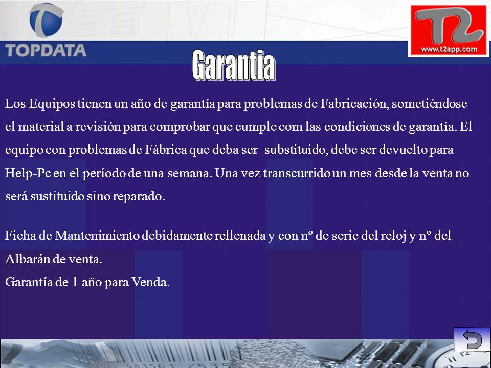Garantia Los Equipos tienen un año de garantía para problemas de Fabricación, sometiéndose.