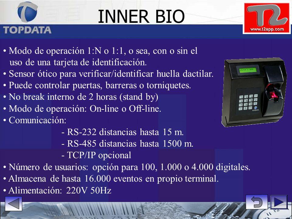INNER BIO • Modo de operación 1:N o 1:1, o sea, con o sin el
