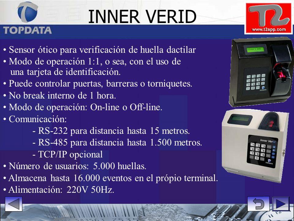 INNER VERID • Sensor ótico para verificación de huella dactilar • Modo de operación 1:1, o sea, con el uso de.