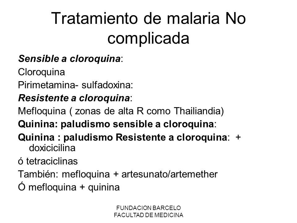 Tratamiento de malaria No complicada