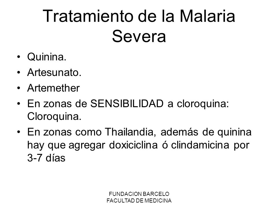 Tratamiento de la Malaria Severa