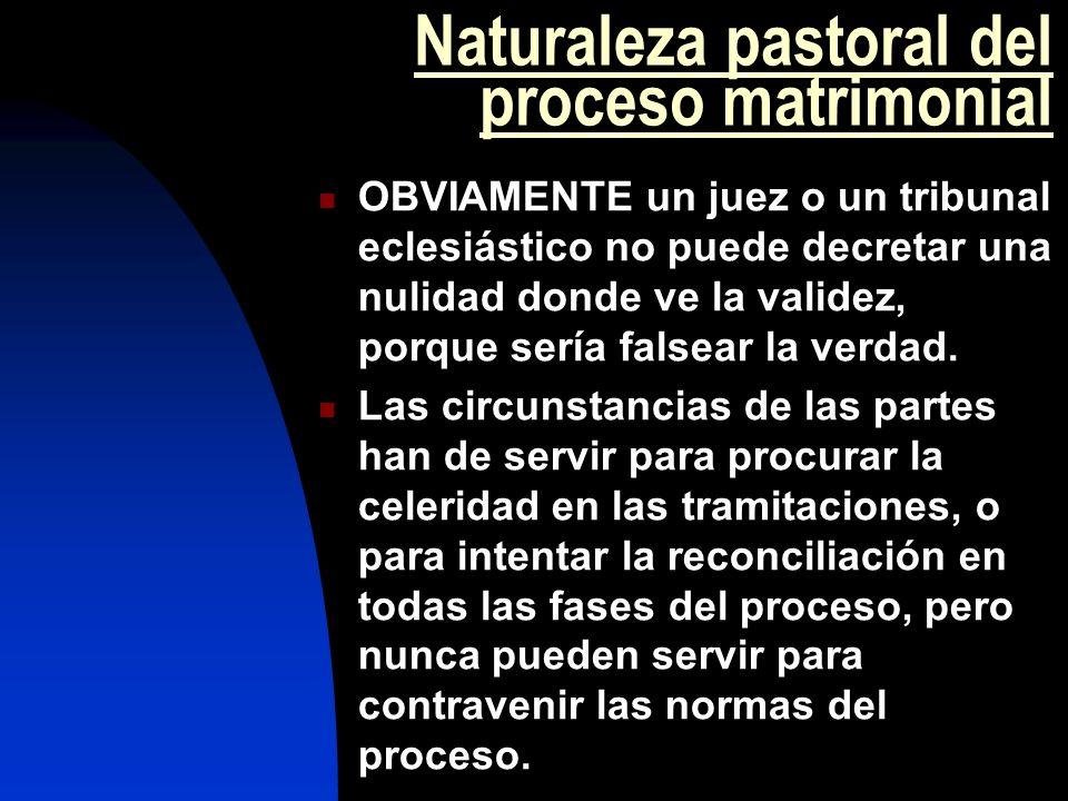 Naturaleza pastoral del proceso matrimonial