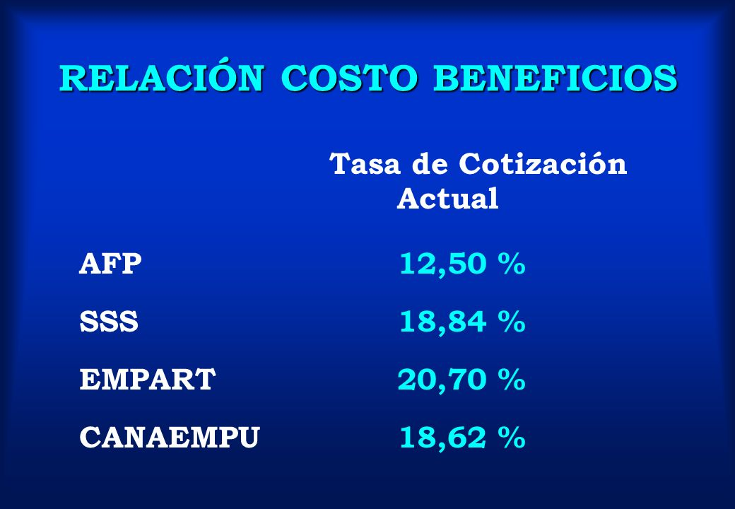 RELACIÓN COSTO BENEFICIOS