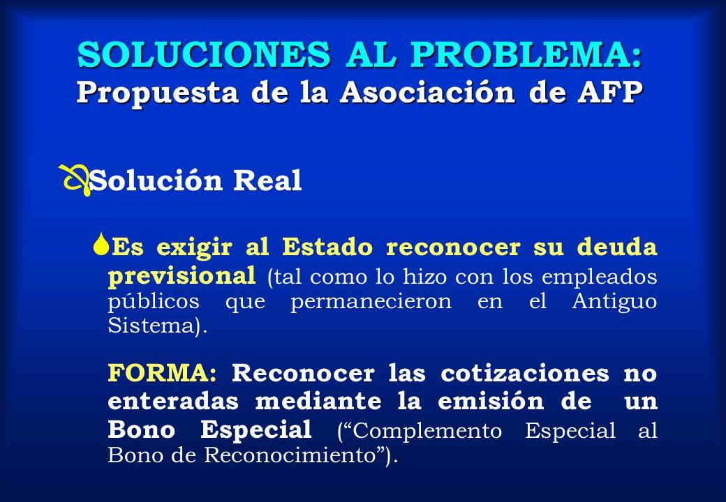 SOLUCIONES AL PROBLEMA: Propuesta de la Asociación de AFP