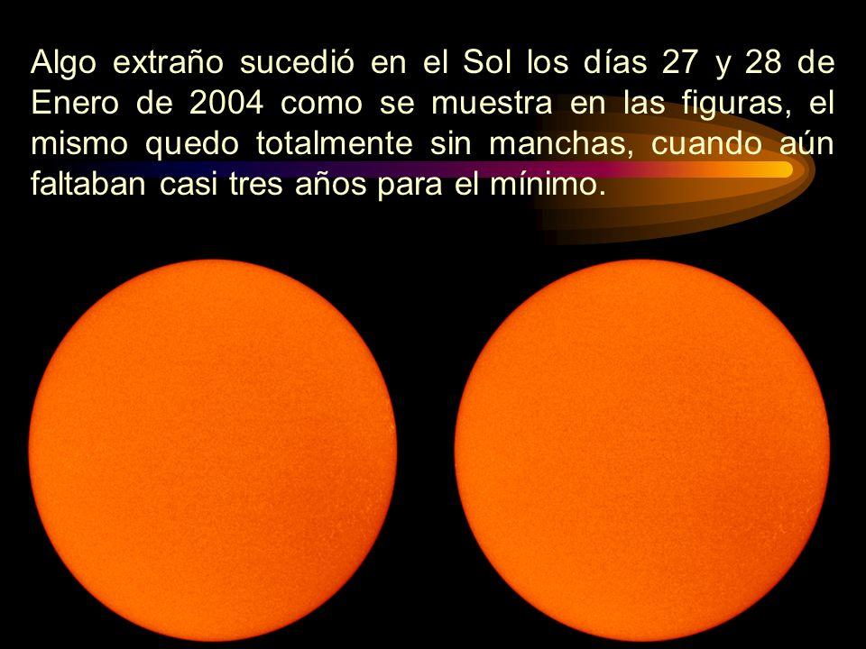 Algo extraño sucedió en el Sol los días 27 y 28 de Enero de 2004 como se muestra en las figuras, el mismo quedo totalmente sin manchas, cuando aún faltaban casi tres años para el mínimo.