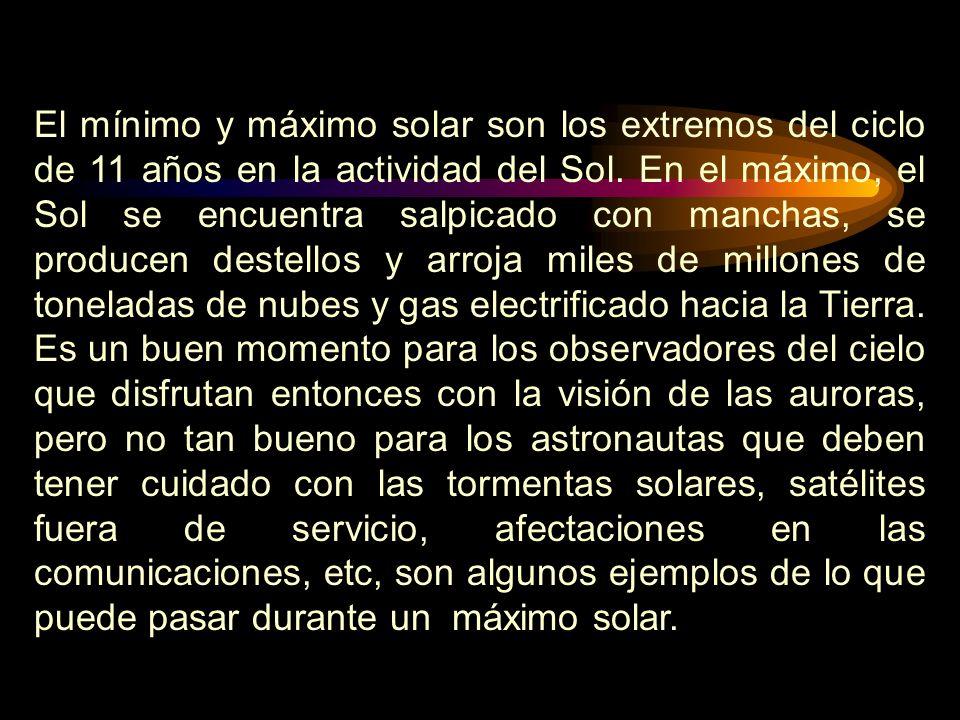 El mínimo y máximo solar son los extremos del ciclo de 11 años en la actividad del Sol.