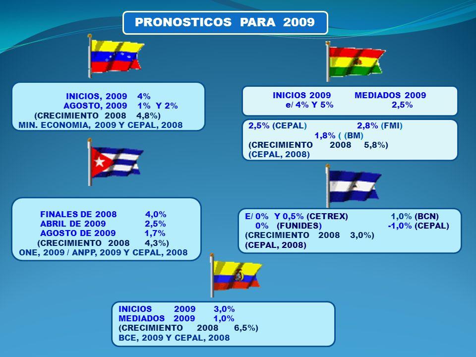 PRONOSTICOS PARA 2009 INICIOS, 2009 4% INICIOS 2009 MEDIADOS 2009