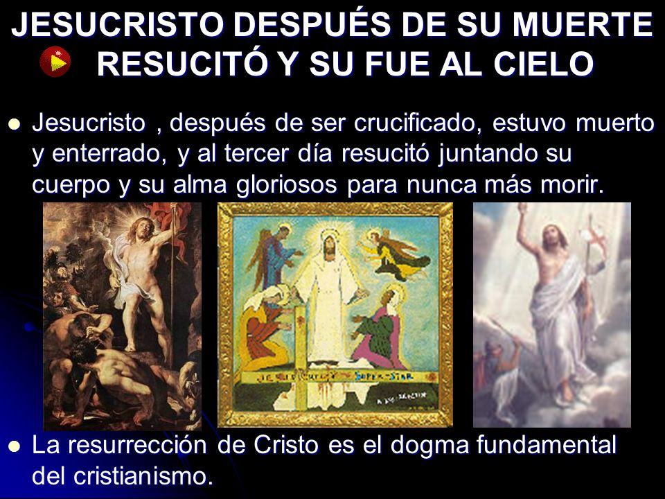 JESUCRISTO DESPUÉS DE SU MUERTE RESUCITÓ Y SU FUE AL CIELO