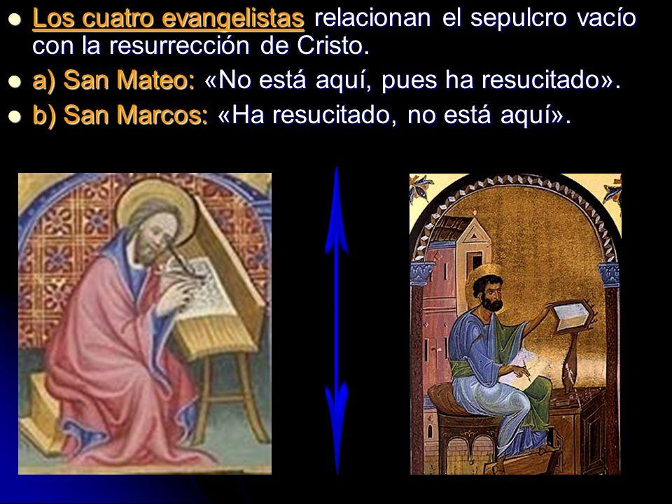 Los cuatro evangelistas relacionan el sepulcro vacío con la resurrección de Cristo.