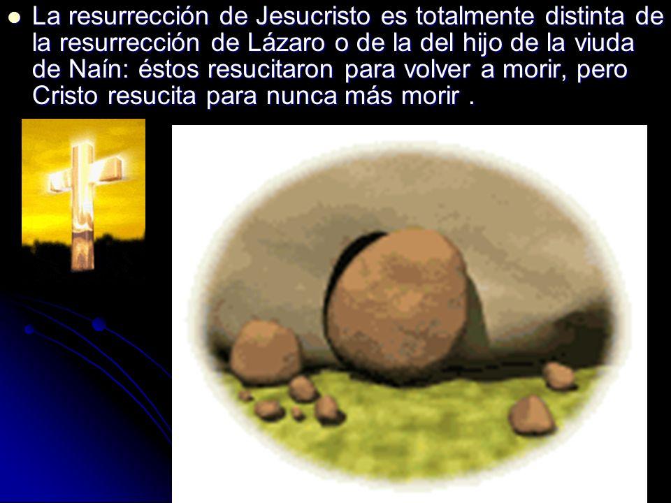 La resurrección de Jesucristo es totalmente distinta de la resurrección de Lázaro o de la del hijo de la viuda de Naín: éstos resucitaron para volver a morir, pero Cristo resucita para nunca más morir .