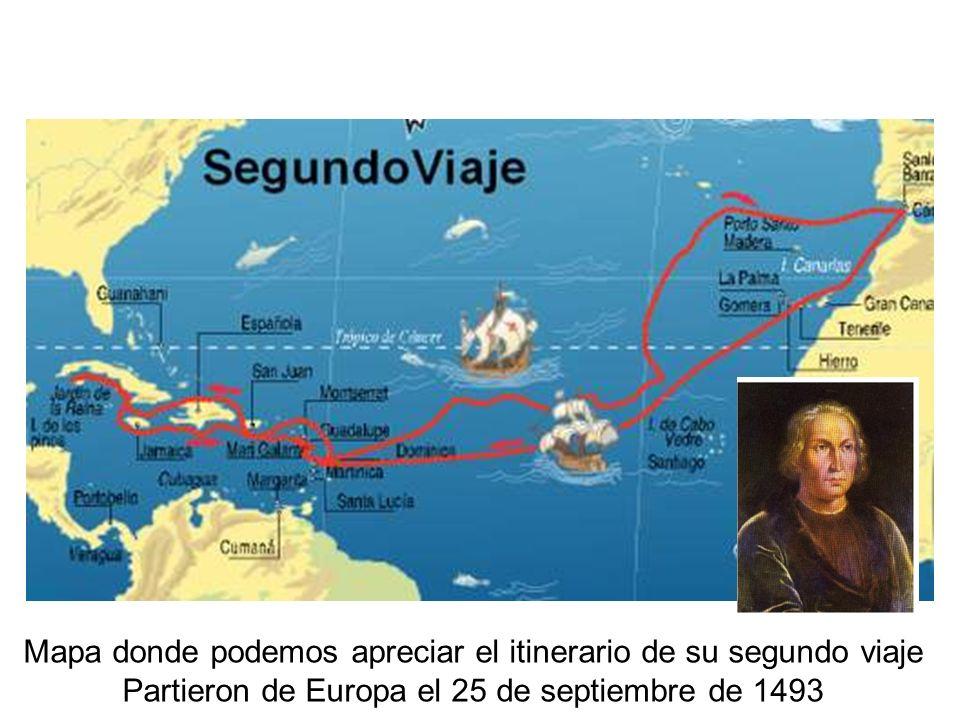 Mapa donde podemos apreciar el itinerario de su segundo viaje