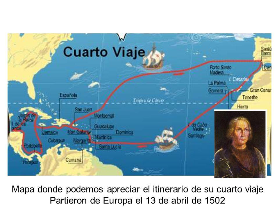 Mapa donde podemos apreciar el itinerario de su cuarto viaje