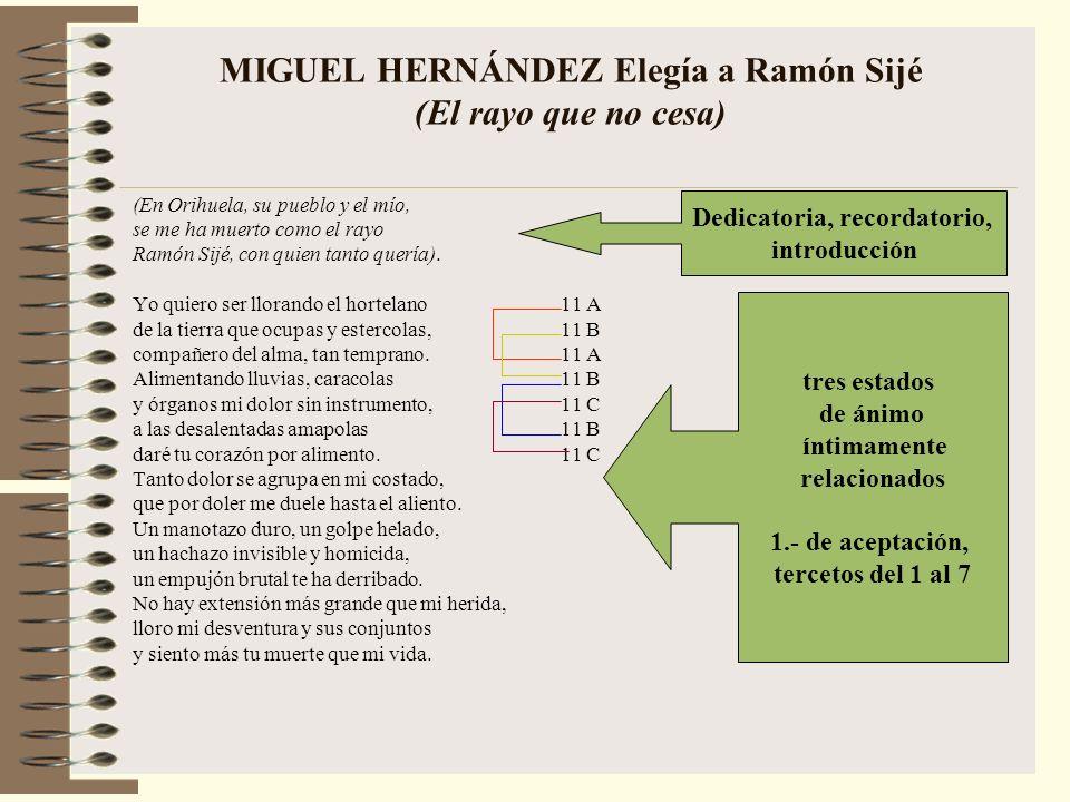 MIGUEL HERNÁNDEZ Elegía a Ramón Sijé (El rayo que no cesa)