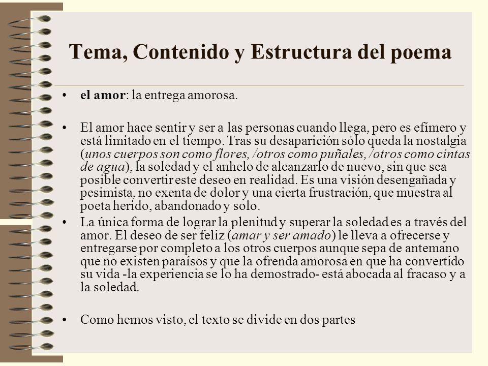 Tema, Contenido y Estructura del poema