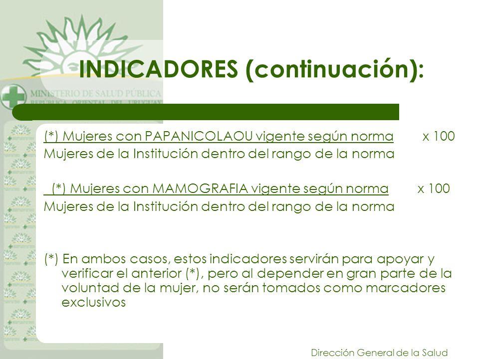 INDICADORES (continuación):
