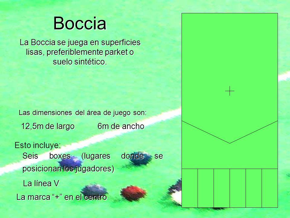 Boccia La Boccia se juega en superficies lisas, preferiblemente parket o suelo sintético. Las dimensiones del área de juego son:
