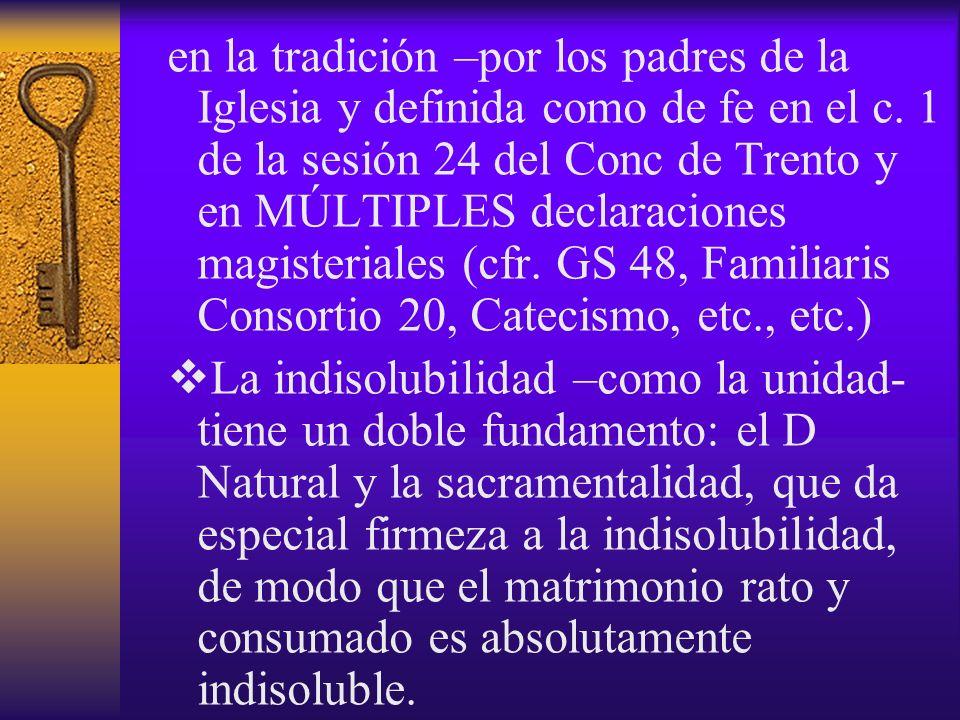 en la tradición –por los padres de la Iglesia y definida como de fe en el c. 1 de la sesión 24 del Conc de Trento y en MÚLTIPLES declaraciones magisteriales (cfr. GS 48, Familiaris Consortio 20, Catecismo, etc., etc.)