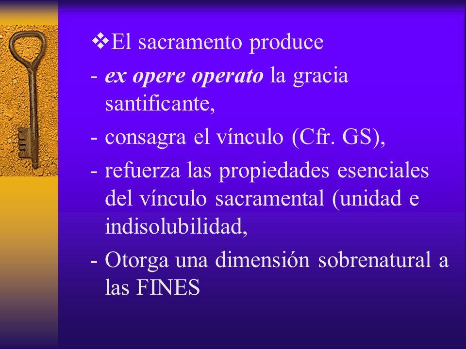 El sacramento produce ex opere operato la gracia santificante, consagra el vínculo (Cfr. GS),