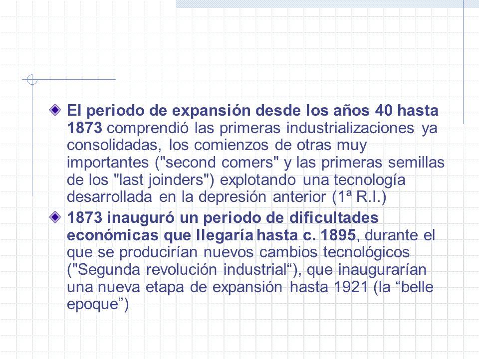 El periodo de expansión desde los años 40 hasta 1873 comprendió las primeras industrializaciones ya consolidadas, los comienzos de otras muy importantes ( second comers y las primeras semillas de los last joinders ) explotando una tecnología desarrollada en la depresión anterior (1ª R.I.)
