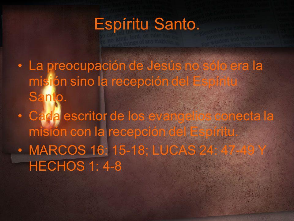 Espíritu Santo. La preocupación de Jesús no sólo era la misión sino la recepción del Espíritu Santo.
