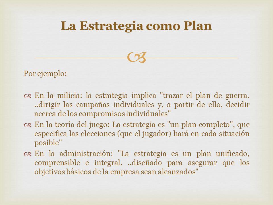 La Estrategia como Plan