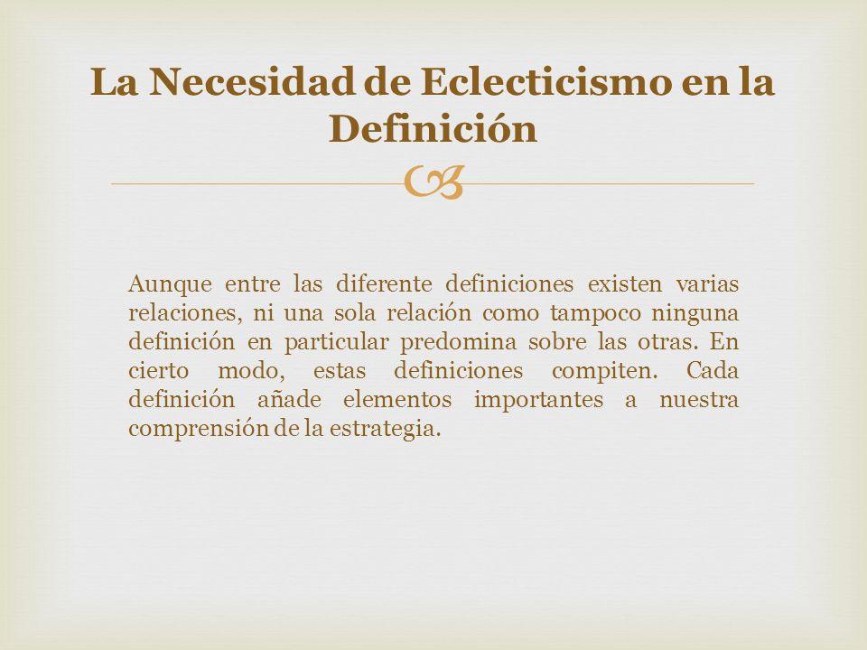 La Necesidad de Eclecticismo en la Definición