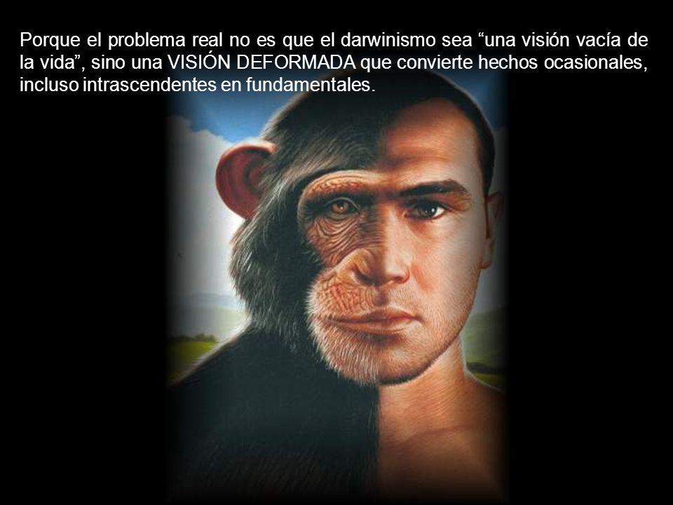 Porque el problema real no es que el darwinismo sea una visión vacía de la vida , sino una VISIÓN DEFORMADA que convierte hechos ocasionales, incluso intrascendentes en fundamentales.
