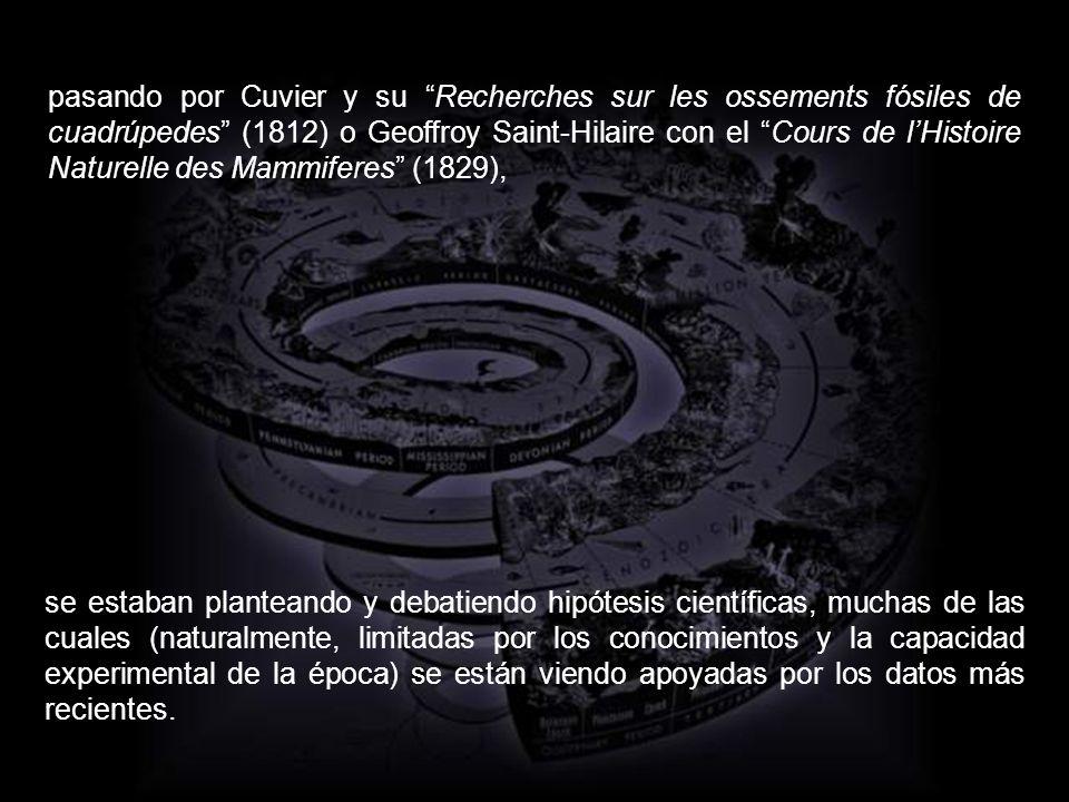 pasando por Cuvier y su Recherches sur les ossements fósiles de cuadrúpedes (1812) o Geoffroy Saint-Hilaire con el Cours de l'Histoire Naturelle des Mammiferes (1829),