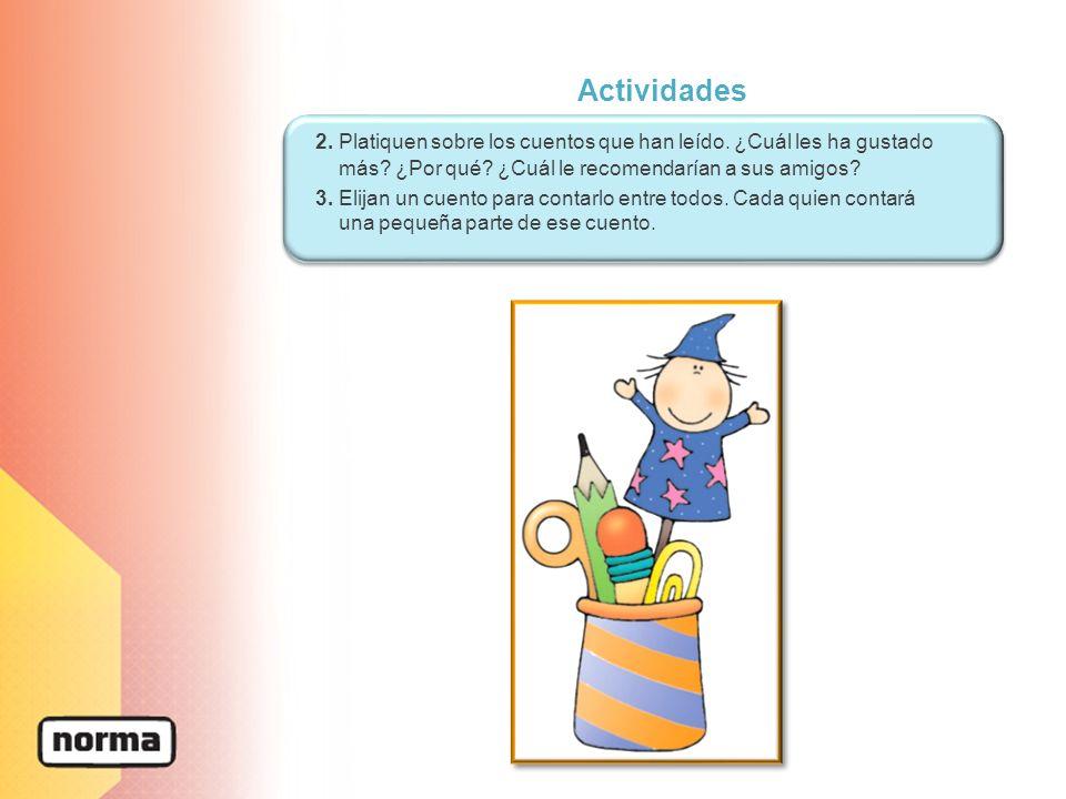Actividades 2. Platiquen sobre los cuentos que han leído. ¿Cuál les ha gustado más ¿Por qué ¿Cuál le recomendarían a sus amigos