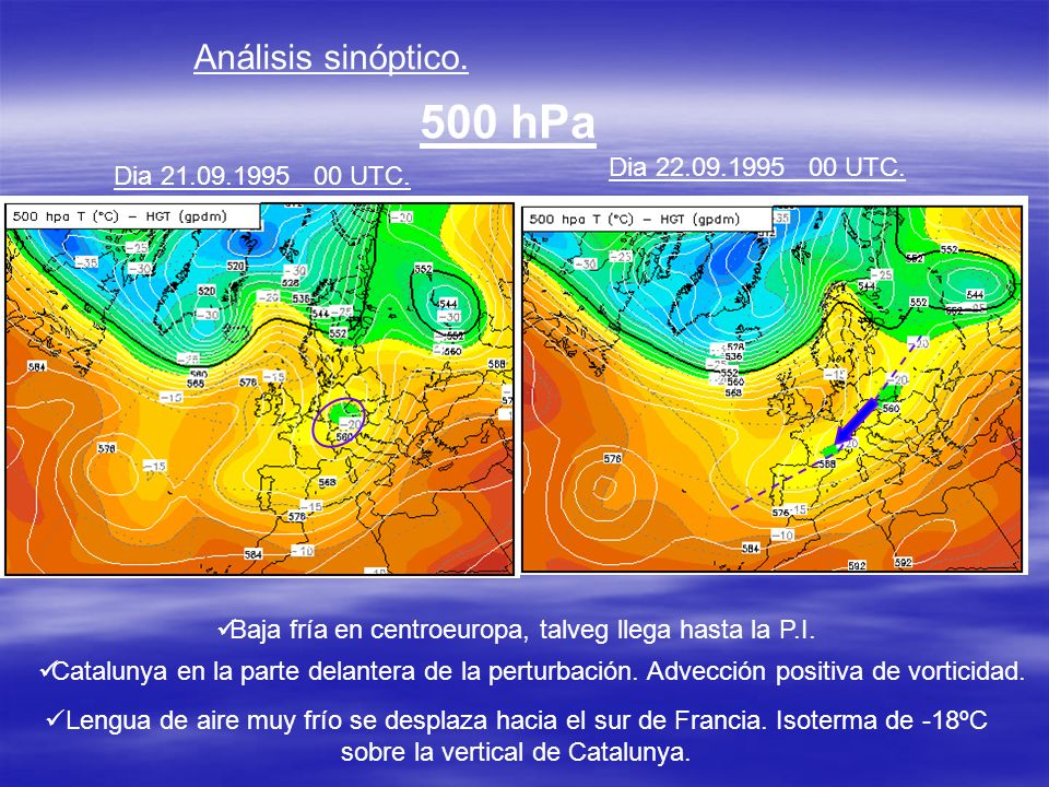 Baja fría en centroeuropa, talveg llega hasta la P.I.