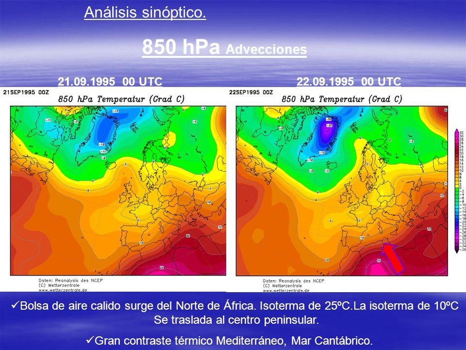 850 hPa Advecciones Análisis sinóptico. 21.09.1995 00 UTC